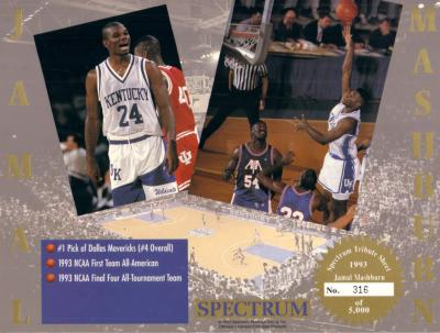 Jamal Mashburn 1993 Kentucky 8x10 Tribute card sheet #316/5000