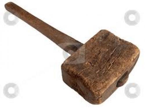 Antiques;  Old wooden mallet hammer