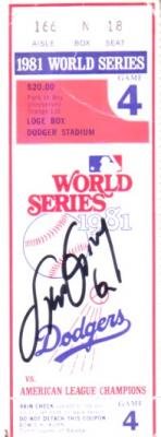 Steve Garvey autographed Los Angeles Dodgers 1981 World Series ticket stub