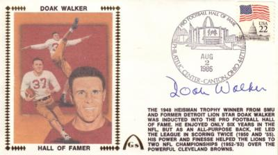 Doak Walker (Detroit Lions) autographed 1986 Pro Football Hall of Fame Induction cachet