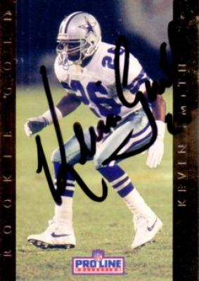 Kevin Smith autographed Dallas Cowboys 1992 Pro Line Rookie Gold card