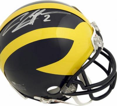 Charles Woodson autographed Michigan Wolverines mini helmet (Mounted Memories)