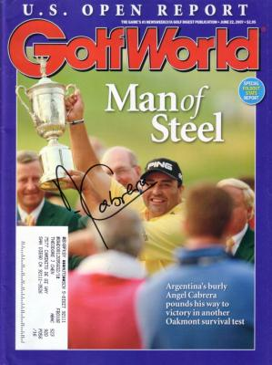 Angel Cabrera autographed 2007 U.S. Open Golf World magazine