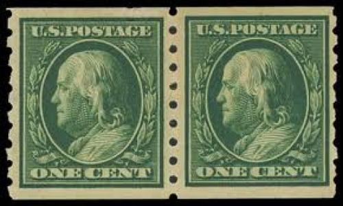 US Stamps; Year: 1910, 1 green coil (Scott 392), pair