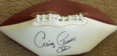 Craig James autographed full size white panel football