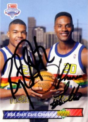 Bryant Stith &amp; LaPhonso Ellis autographed Denver Nuggets 1992-93 Upper Deck card