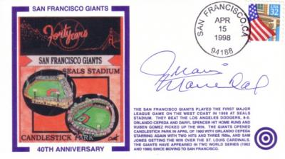 Juan Marichal autographed San Francisco Giants 40th Anniversary cachet envelope