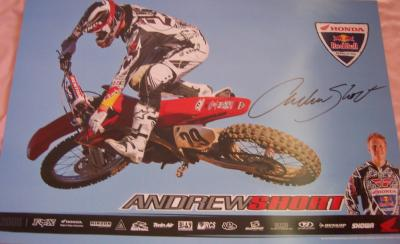 Andrew Short autographed Honda Racing supercross mini poster
