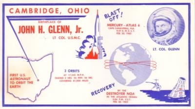 1962 John Glenn birthplace commemorative postcard