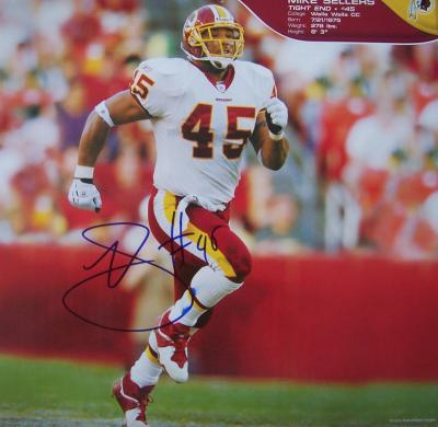Mike Sellers autographed Washington Redskins calendar page