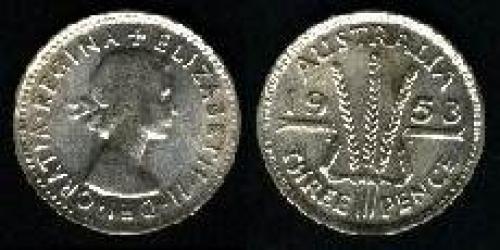3 pence; Year: 1953-1954; (km 51)