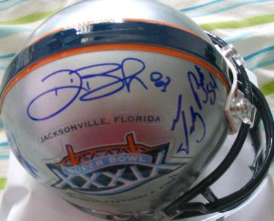 Tedy Bruschi Deion Branch & Corey Dillon autographed Patriots Super Bowl 39 mini helmet