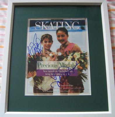 Michelle Kwan &amp; Tara Lipinski autographed Skating magazine cover matted &amp; framed