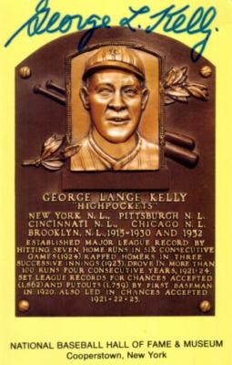 George Kelly autographed Baseball Hall of Fame plaque postcard