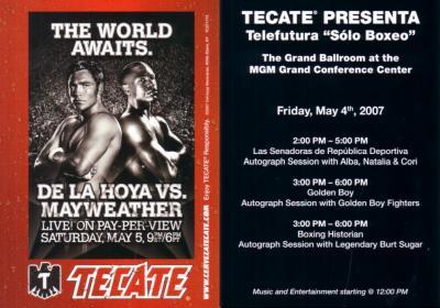 2007 Oscar De La Hoya vs. Floyd Mayweather 5x7 boxing promo card