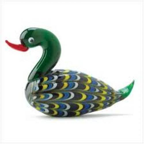 Decorative; Colorful Art Glass Duck Figurine: Mallard Duck Decor
