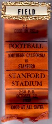 1938 USC at Stanford football field access pin with ribbon