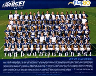 2010 San Diego Chargers 8x10 team photo (Philip Rivers)