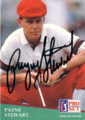 Payne Stewart autographed 1991 Pro Set golf card