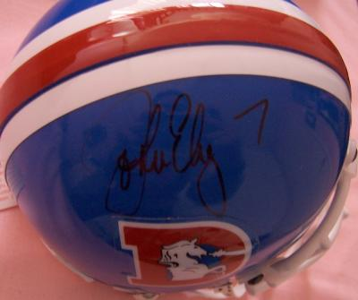 John Elway autographed Denver Broncos throwback mini helmet