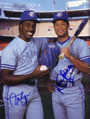 Roberto Alomar & Juan Guzman autographed Toronto Blue Jays Beckett back cover photo