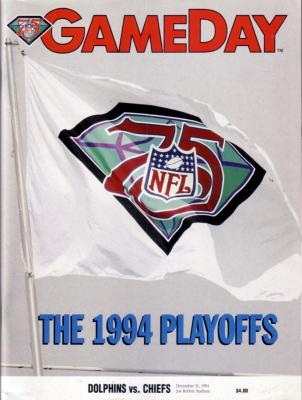 1994 Miami Dolphins vs Kansas City Chiefs Playoff program (Joe Montana last game)