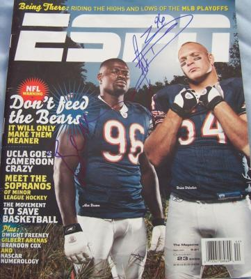 Brian Urlacher &amp; Alex Brown autographed Chicago Bears ESPN magazine