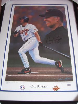Cal Ripken autographed Baltimore Orioles 1997 lithograph matted &amp; framed (Steiner)