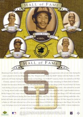San Diego Padres Hall of Fame 2002 Upper Deck 5x7 card (Willie McCovey Ozzie Smith Dave Winfield)