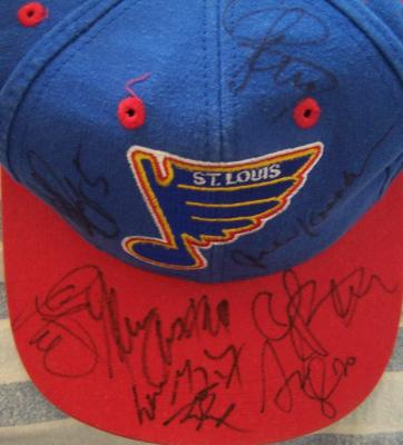 1995-96 St. Louis Blues autographed cap Wayne Gretzky Glenn Anderson Grant Fuhr Chris Pronger