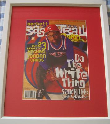 Spike Lee autographed Beckett Basketball cover matted & framed