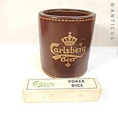 Vintage Carlsberg Beer Leather Dice Cup and Poker Dice