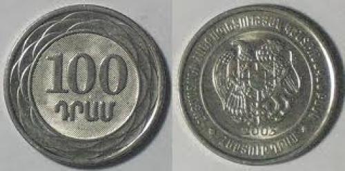 Armenia 100 dram 2003 Weight: 4gm. Metal: nickel plated steel