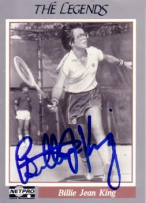 Billie Jean King autographed Netpro Legends tennis card
