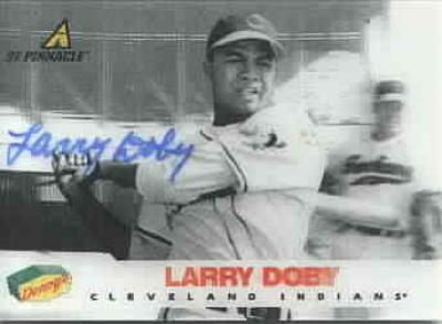 Larry Doby autographed Cleveland Indians 1997 Pinnacle Denny&#039;s 3D card