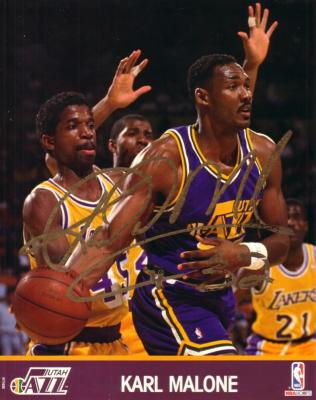 Karl Malone autographed 8x10 Utah Jazz photo (signature flaking)