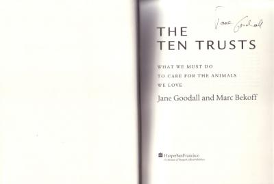 Jane Goodall autographed The Ten Trusts softcover book