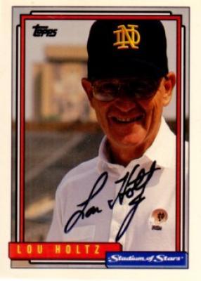 Lou Holtz autographed Notre Dame 1992 Topps card