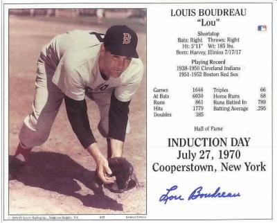Lou Boudreau autographed 8x10 Boston Red Sox HOF Induction Day photo card