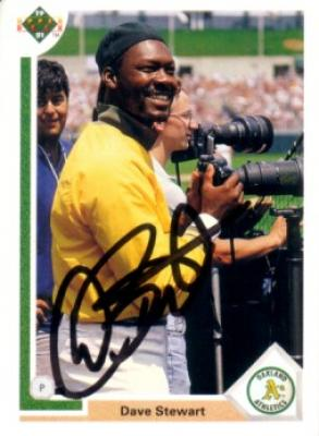 Dave Stewart autographed Oakland A&#039;s 1991 Upper Deck card
