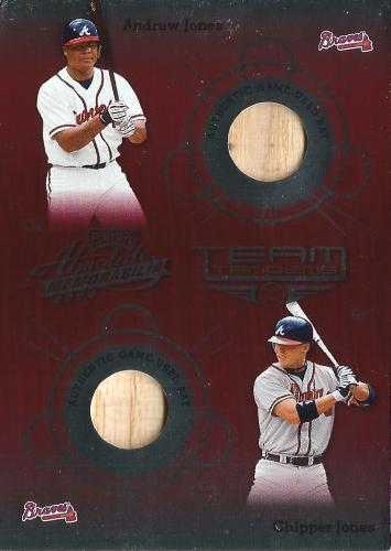 2002 Absolute Memorabilia Team Tandems Materials #TT-3 ~ Chipper Bat/Andruw Bat