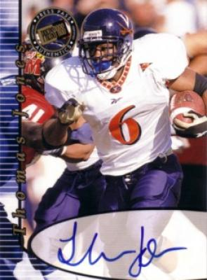 Thomas Jones certified autograph Virginia Cavaliers Press Pass card