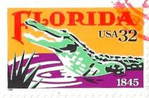 Stamps;  USA Stamp 1995. Florida with an Alligator 1845 - 32 cents