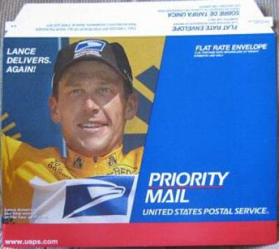 Lance Armstrong 2000 USPS Priority Mail envelope