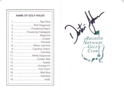 Dustin Johnson autographed Augusta National Masters scorecard