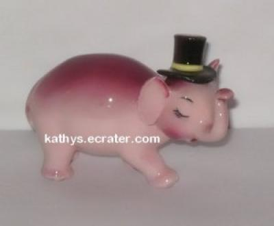 Lefton China Elephant Pink Papa w Top hat  Animal Figurine