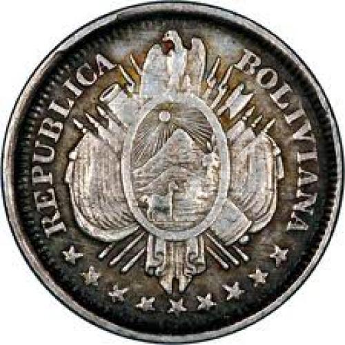 Coins; 1887 bolivia 20cents silver obverse