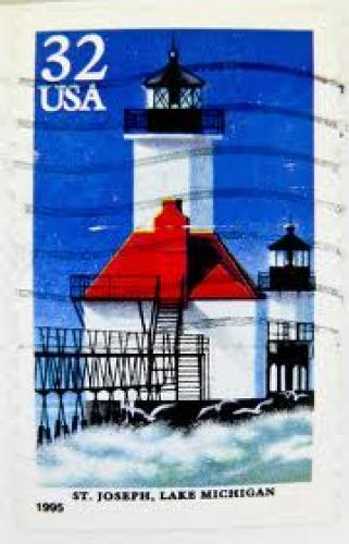 Stamps;  stamp USA 32c Lighthouse frimärken; Michigan
