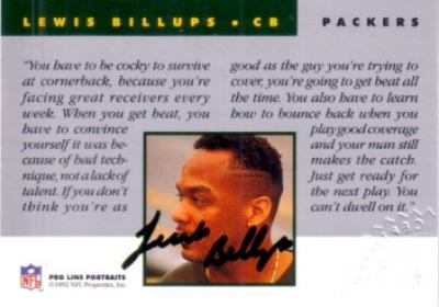 Lewis Billups certified autograph Green Bay Packers 1992 Pro Line card