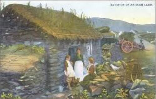 Postcard made from peat. Irish Thatched Cottage scene; Ireland